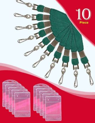 Flat Lanyard Peacock Green Colour and Holders